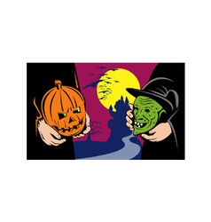 Halloween mask jack-o-lantern witch retro vector