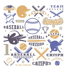 Icons and badges set of baseball team vector image vector image