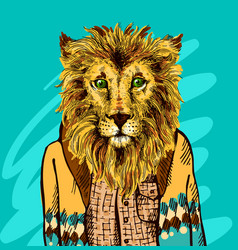 lion in knitted sweater vector image vector image
