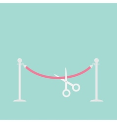 Scissors cutting pink rope silver barrier vector