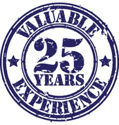 Valuable 25 years of experience rubber stamp vect vector image