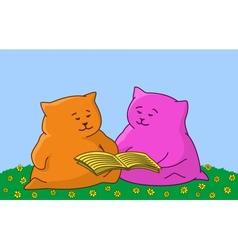 Cartoon animal read the book vector image
