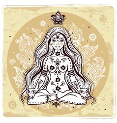 Girl in meditation vector image vector image