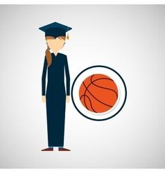 graduate student girl sport ball vector image