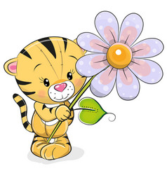 greeting card tiger with flower vector image vector image