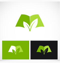 open book green ecology logo vector image vector image