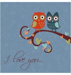 owls together darkblue vector image vector image
