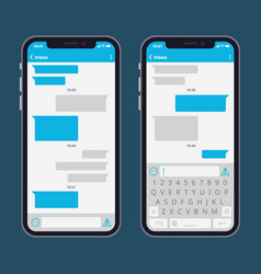 smart phone with text message bubbles and vector image