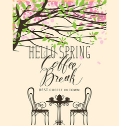 spring banner for the best in town coffee vector image
