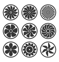 Turbines and Fan Icons Set Turbojet Engine Power vector image vector image