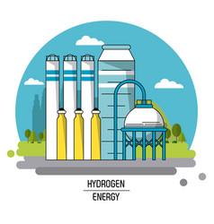 Color landscape image hydrogen energy production vector