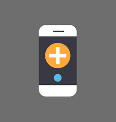 medical treatment mobile app icon with smart phone vector image