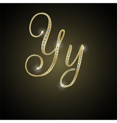Shiny alphabet Y of gold and diamond vector image vector image