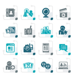 Stylized social networking and communication icons vector
