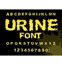 Urine font Yellow liquid ABC piss typography vector image vector image