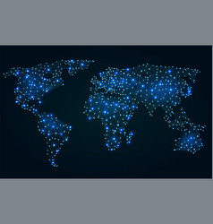 abstract polygonal world map with hot points vector image