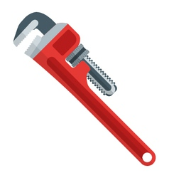 flat design red pipe wrench vector image vector image