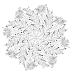 Monochrome floral coloring page template vector image vector image