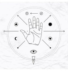 Palm with symbols vector