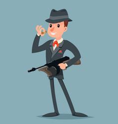 retro gangster with submachine gun thug criminal vector image
