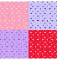 set of heart seamless patterns vector image
