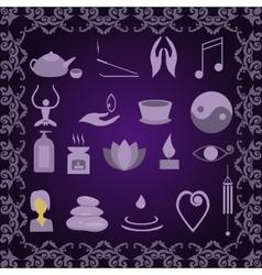 Set of icons meditation vector image