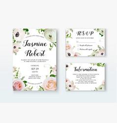 wedding invitation invite card design with rose vector image