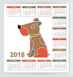 2018 year of the yellow dog wall calendar from vector image