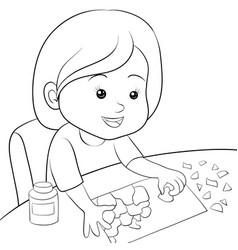 a children coloring bookpage girl making art vector image