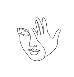 abstract beautiful woman face with hand closing vector image