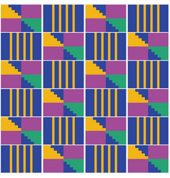 African geometric kente seamless pattern vector