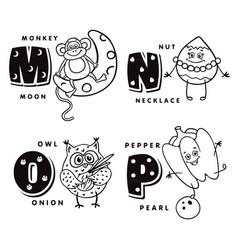 Alphabet letter m n o p depicting an monkey nut vector