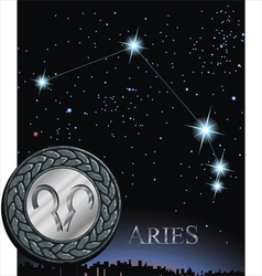 Aries sign zodiac poster vector image