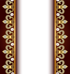 Background with gold ornaments and pearls vector