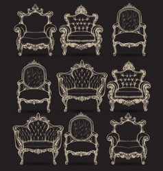 baroque armchair set french luxury rich vector image
