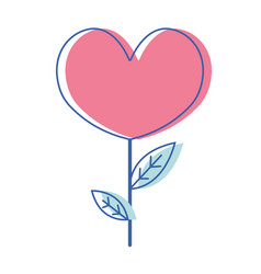 Beauty heart plant with leaves design vector
