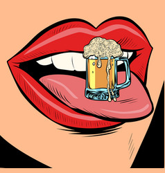 Beer mug foam female tongue mouth vector