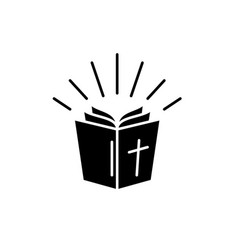 bible black icon sign on isolated vector image