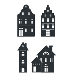 Black silhouettes buildings on white background vector