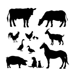 black silhouettes farm animals icons set vector image