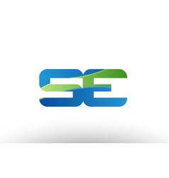 Blue green se s e alphabet letter logo vector