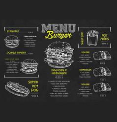 burger menu poster design on chalkboard vector image