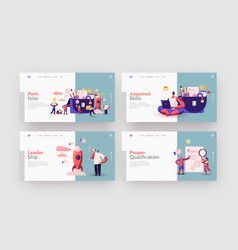 business characters put stationery or documents to vector image