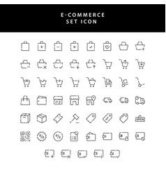 Business e-commerce shopping and finance outline vector