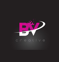 Bv b v creative letters design with white pink vector
