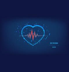 Cardiogram line polygonal heart beautiful dark vector