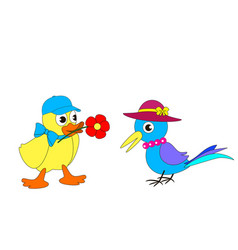 cartoon duckling and magpie vector image