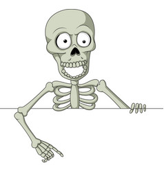 cartoon skeleton with blank sign vector image