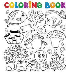 Coloring book coral reef theme 2 vector