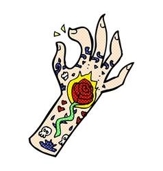 comic cartoon tattoo hand vector image
